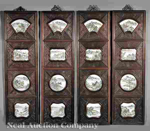 Four Chinese Carved Wood Panels with Plaques