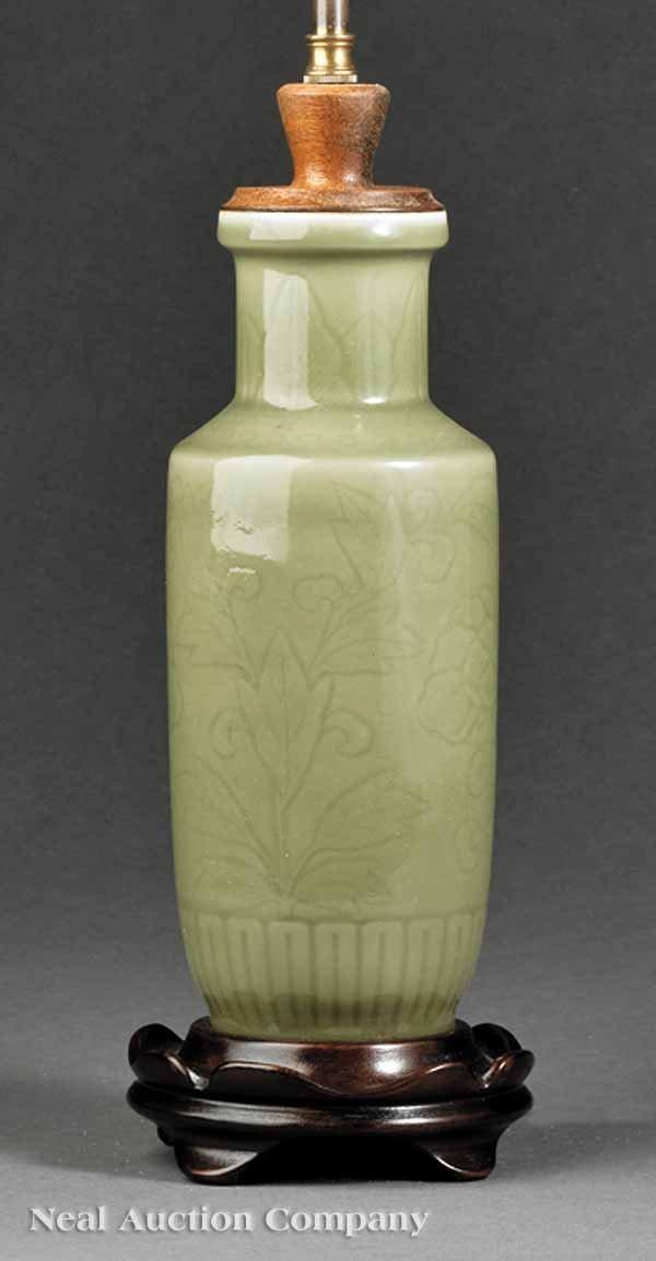"0681: Chinese ""Longquan"" Celadon Porcelain Vase"