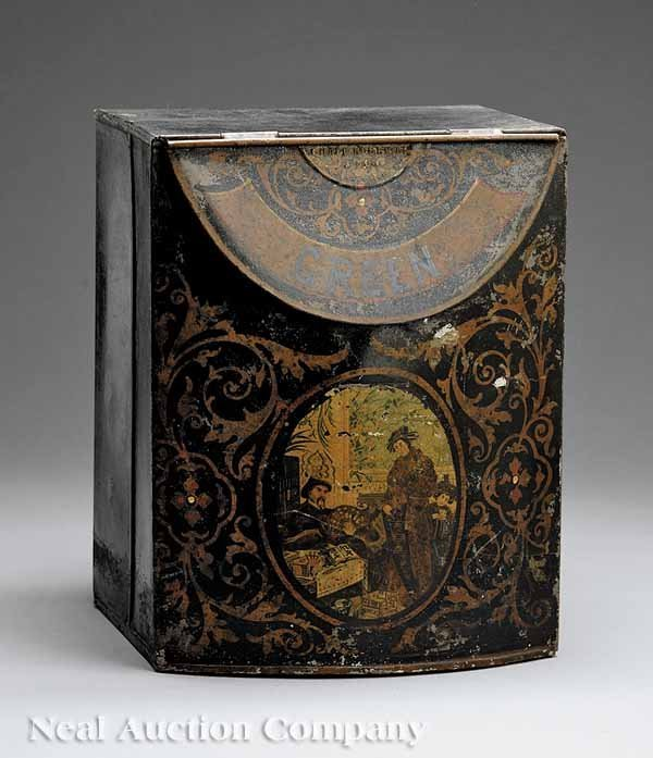 0686: Greene Tole Peinte Tea Canister