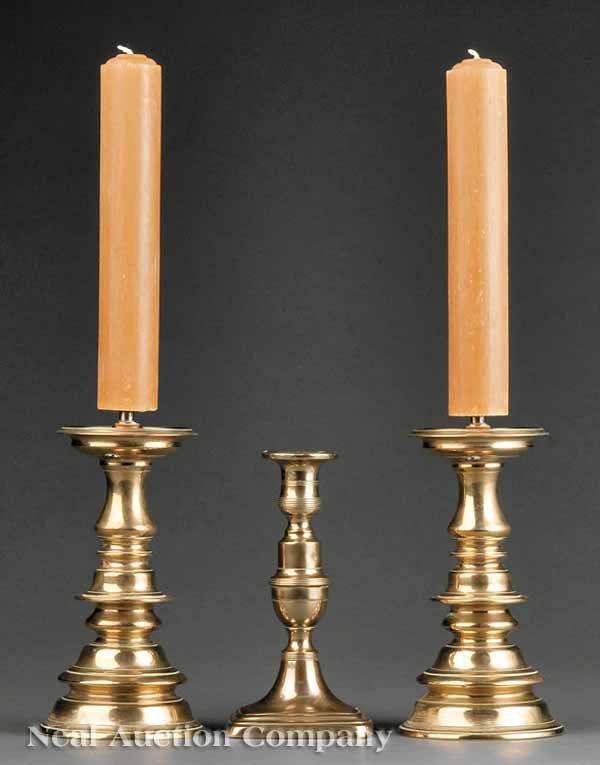 0688: Three American Brass Candlesticks