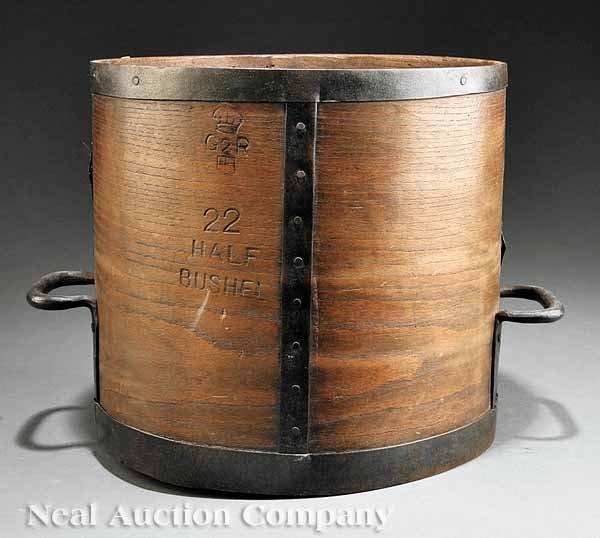 0690: English Iron-Bound Wood Storage Bucket
