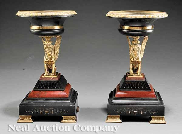 0692: Pair Gilt Bronze and Marble Tazzas