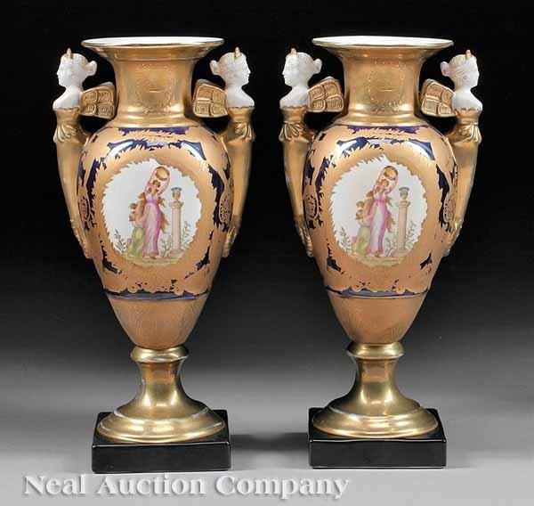 0693: Pair of Polychrome and Gilt Porcelain Vases