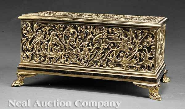 0694: Continental Cast Brass Jewel Box