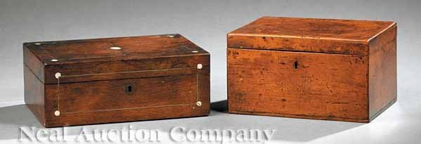0695: Brass Inlaid Rosewood Tea Caddy