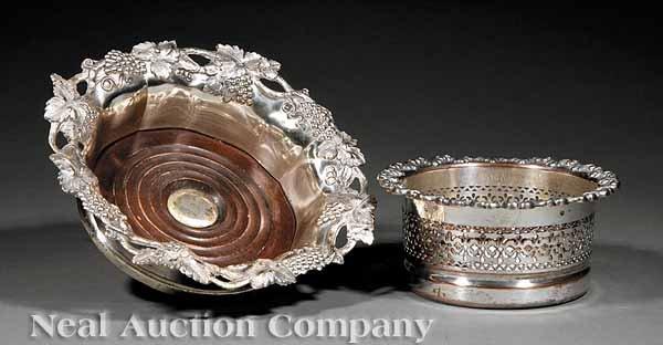 0701: Two English Silverplate Wine Coasters