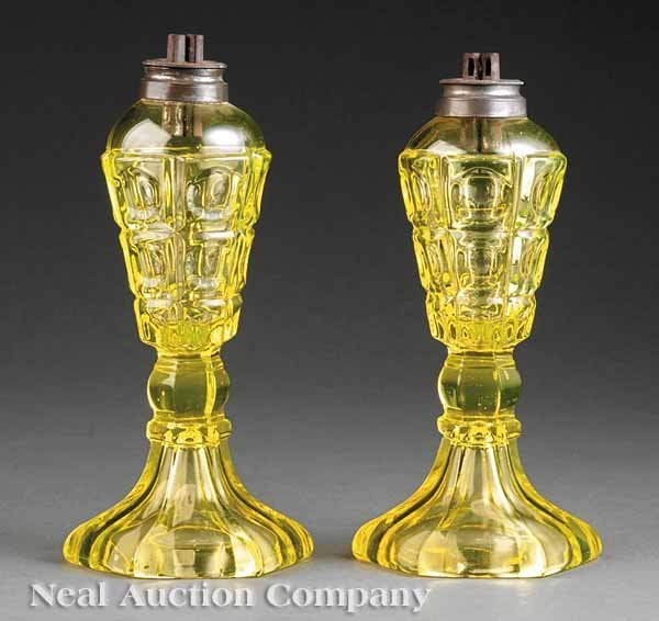 0703: Pair Canary Yellow Molded Glass Oil Lamps