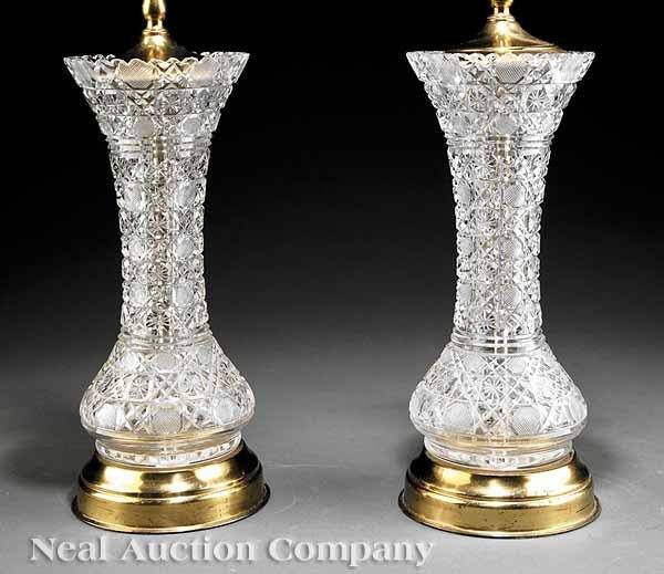 0704: Pair of American Brilliant Cut Glass Vases