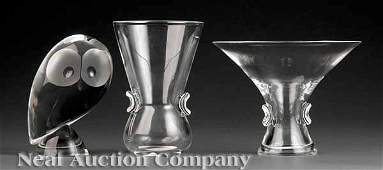 0712 Three Steuben Glass Table Articles