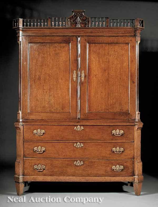 0814: Dutch Neoclassical Carved Oak Linen Press
