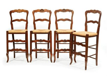 Carved Fruitwood Bar Chairs
