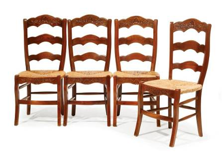Carved Fruitwood Side Chairs