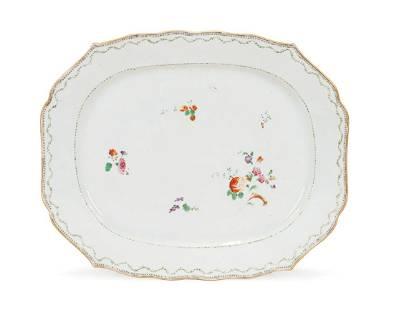 Lowestoft Polychrome and Gilt Porcelain Platter