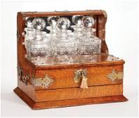 Victorian Brass-Mounted Oak Glass Tantalus