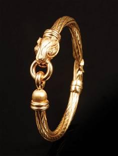 Italian 18 kt. Yellow Gold Hinged Bangle Bracelet