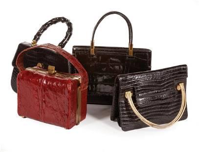 Four Alligator Skin Handbags