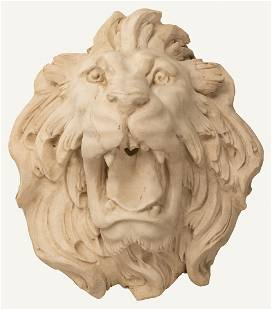 Italian Carved Carrara Marble Lion Fountain Head