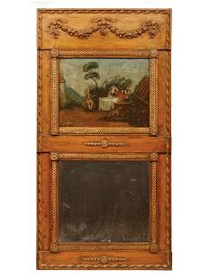 Continental Carved Pine Trumeau Mirror