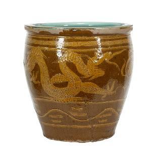 "Asian Glazed Stoneware ""Egg Crate"" Jardiniere"