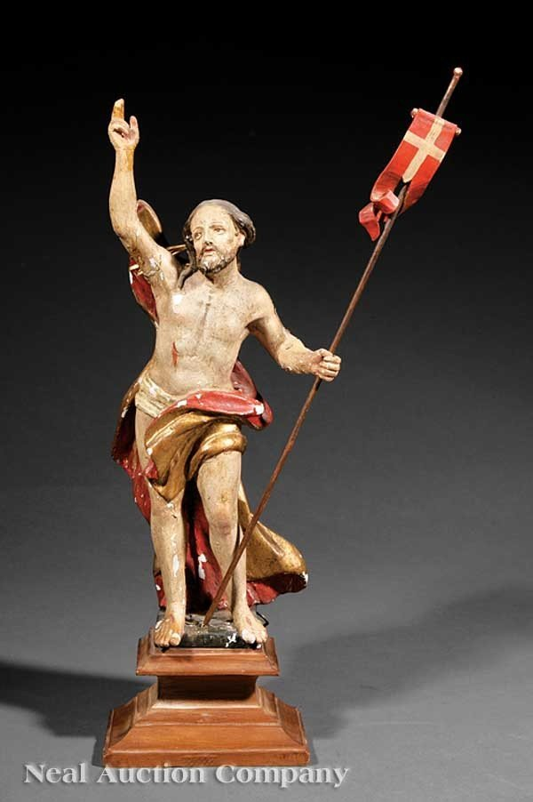 0001: Carved and Polychromed Wood Figure of Christ