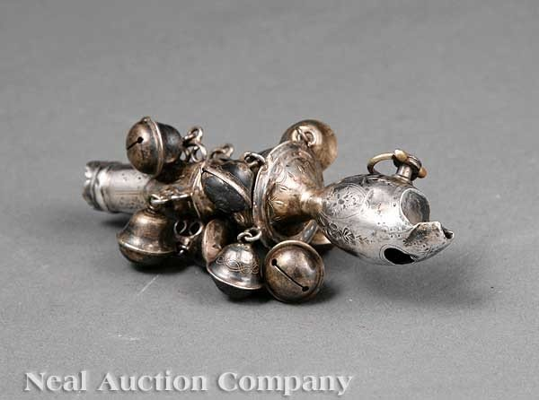 "0006: Sterling Silver ""Bells and Whistles"" Rattle"