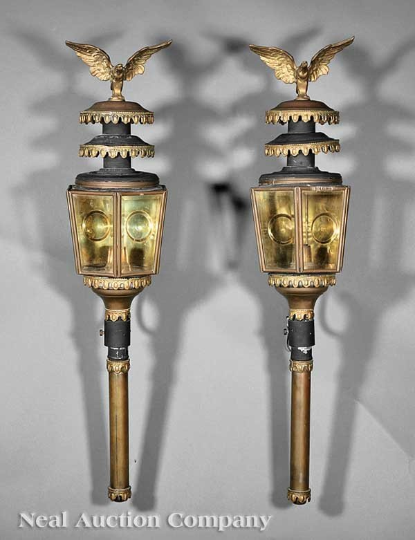 0007: Pair of American Brass Carriage Lamps