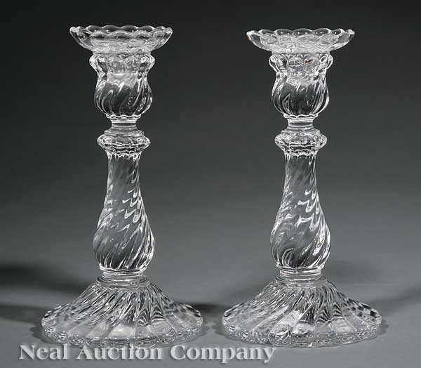 0010: Pair of Baccarat Glass Candlesticks