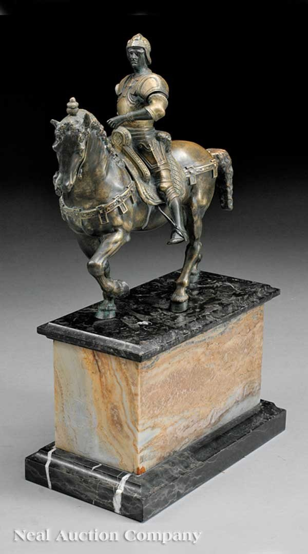 0013: Patinated Bronze Equestrian Figure of Colleoni