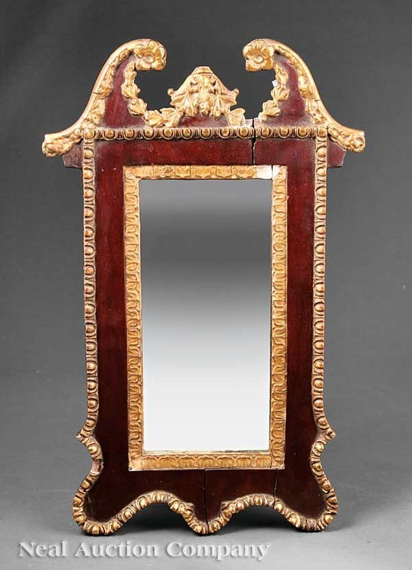 0014: Carved Mahogany, Parcel Gilt Looking Glass