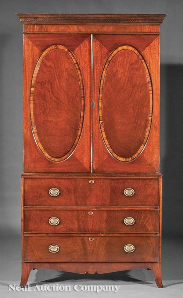 0018: Mahogany Linen Press and Secretaire