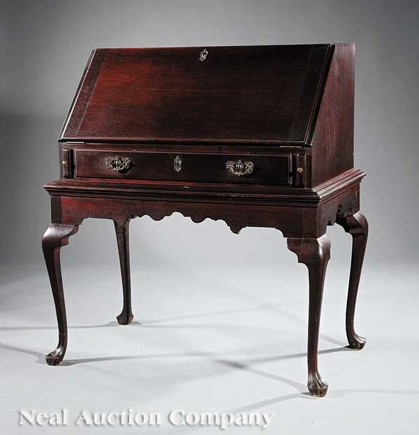 0020: American Colonial-Style Walnut Desk on Frame