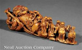 0169: Carved & Stained Ivory Figure Reclining Immortal