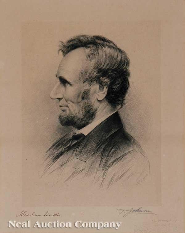 "0284: Thomas Johnson, ""Abraham Lincoln"", etching"