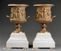 0399 Pair French Carrara Marble and Gilt Bronze Urns
