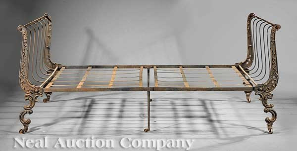 0433: French Cast Iron Campaign Bed