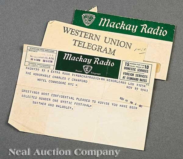0576: [Mardi Gras] Mackay Radio Western Union Telegram