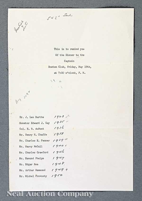 0578: Typewritten Letter, regarding a King's Dinner