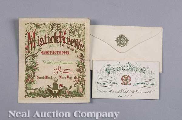 0587: Mistick Krewe of Comus Ball Invitation, 1869