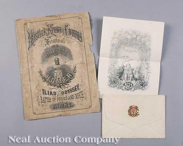 0590: Mistick Krewe of Comus Ball Invitation, 1872