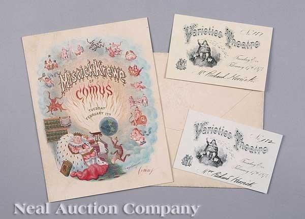 0593: Mistick Krewe of Comus Ball Invitation 1874