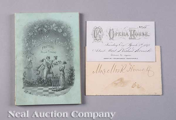 0595: Mistick Krewe of Comus Ball Invitation, 1878