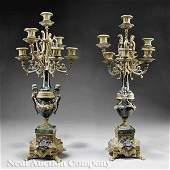 0925: A Pair of Louis XVI-Style Gilt Candelabra