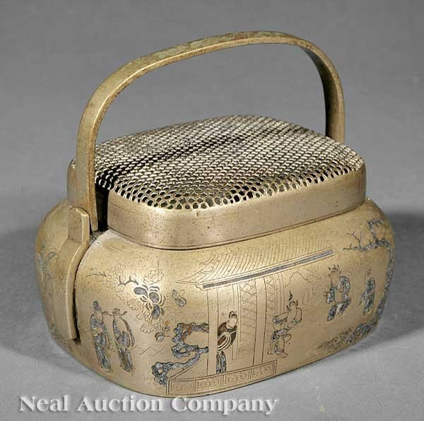 1006: An Chinese Brass and Enamel Cricket Box