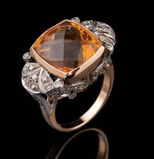 White and Yellow Gold, Citrine and Diamond Ring