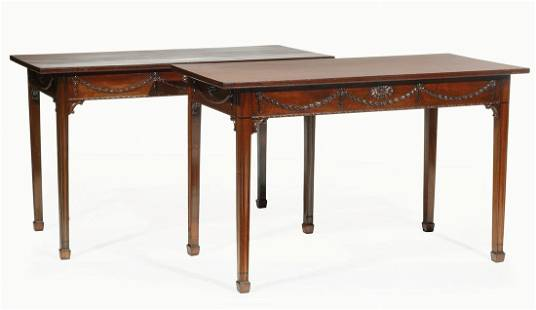 George III-Style Carved Mahogany Console Tables