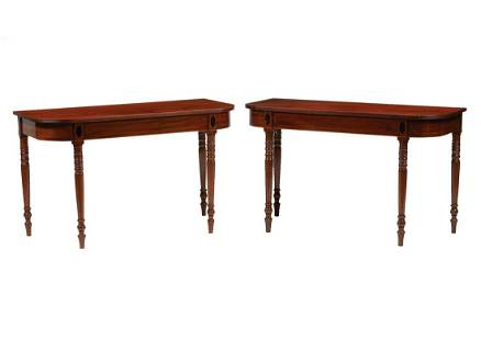 American Federal Inlaid Mahogany Console Tables