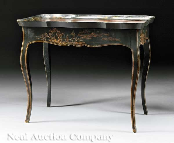 "0002: Chinoiserie Tea Table, labeled ""Michael Smith Des"