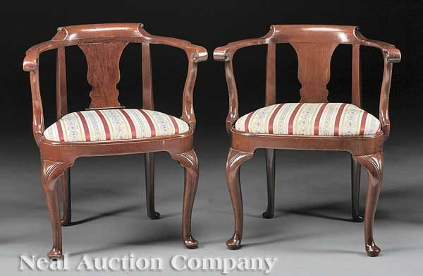 0003: Pair of George I-Style Mahogany Armchairs