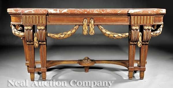 0005: Neoclassical Faux Bois and Gilt-Decorated Console