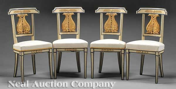 0006: Four Painted, Carved and Gilded Chaises